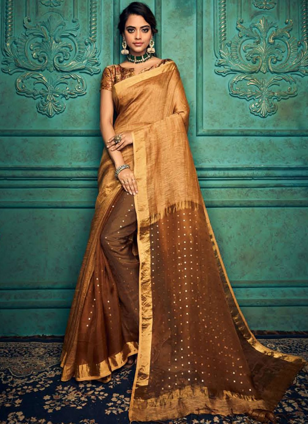 Silk Weaving Brown Traditional Designer Saree