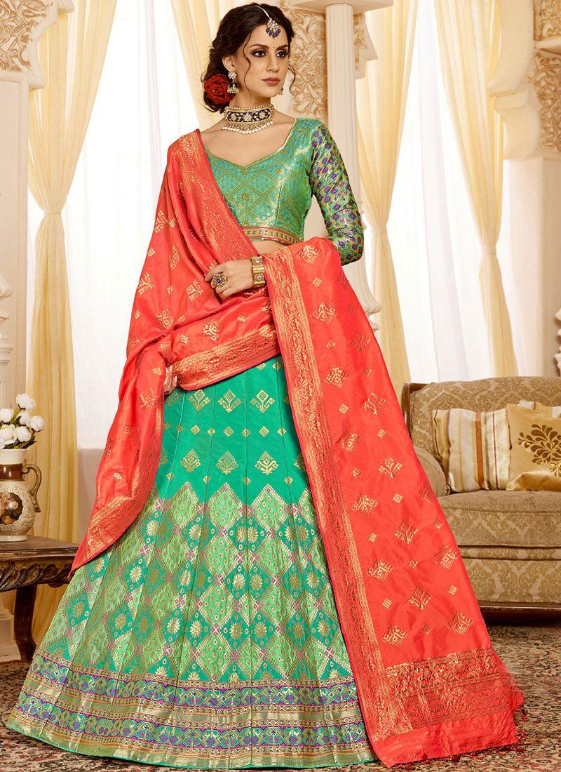 Silk Weaving Designer Lehenga Choli in Green
