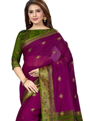 Silk Weaving Green and Purple Casual Saree