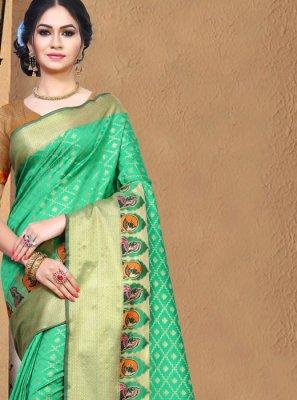 Silk Weaving Green Casual Saree