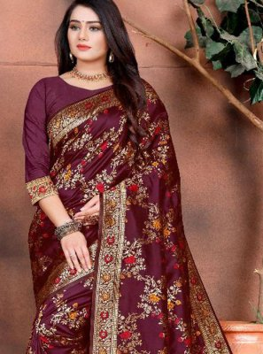 Silk Weaving Maroon Classic Saree