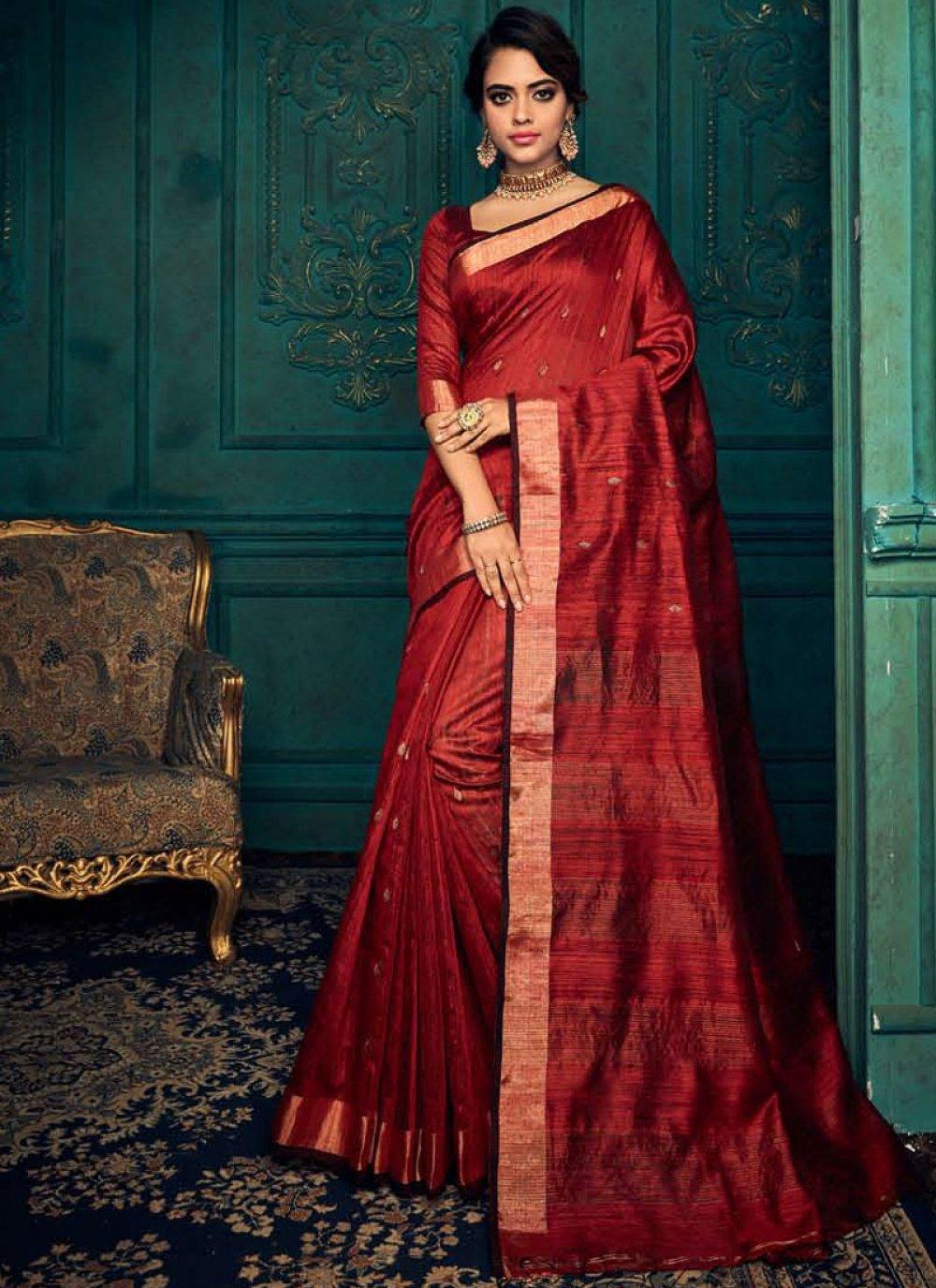 Silk Weaving Maroon Traditional Saree
