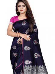 Silk Weaving Navy Blue Traditional Saree