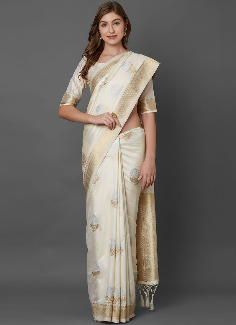 Silk Weaving Off White Silk Saree