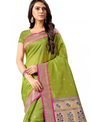 Silk Weaving Sea Green Silk Saree