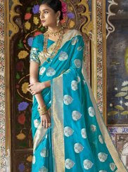 Silk Weaving Traditional Saree in Turquoise