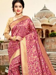 Silk Weaving Trendy Saree in Pink