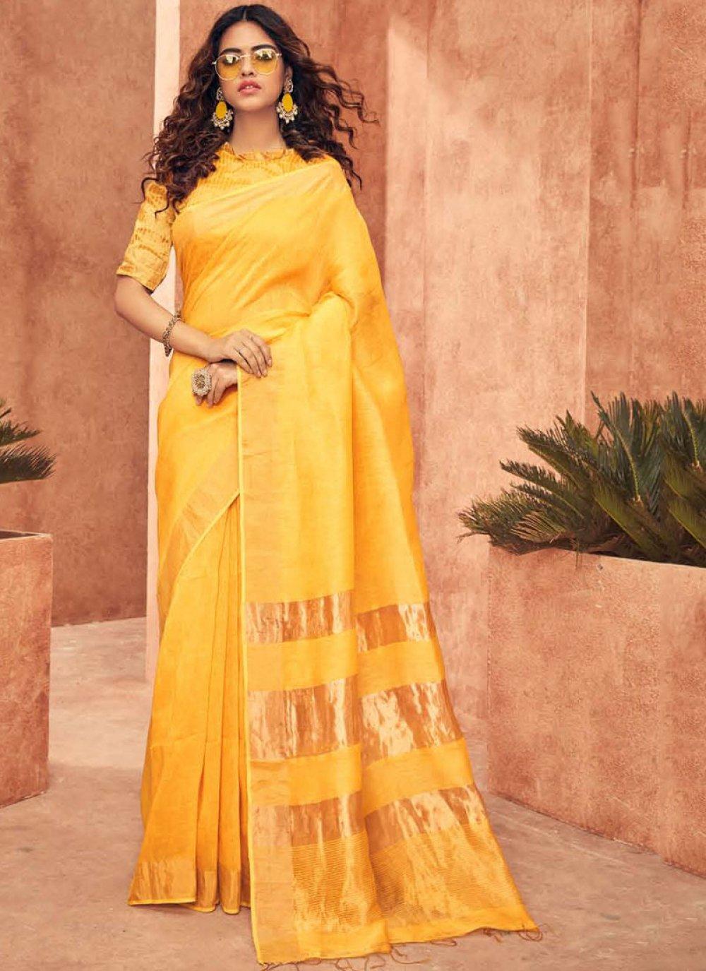 Silk Weaving Yellow Designer Traditional Saree