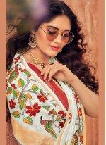 Silk White Traditional Designer Saree