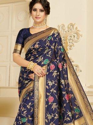Silk Woven Navy Blue Casual Saree