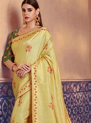 Silk Yellow Digital Print Trendy Saree