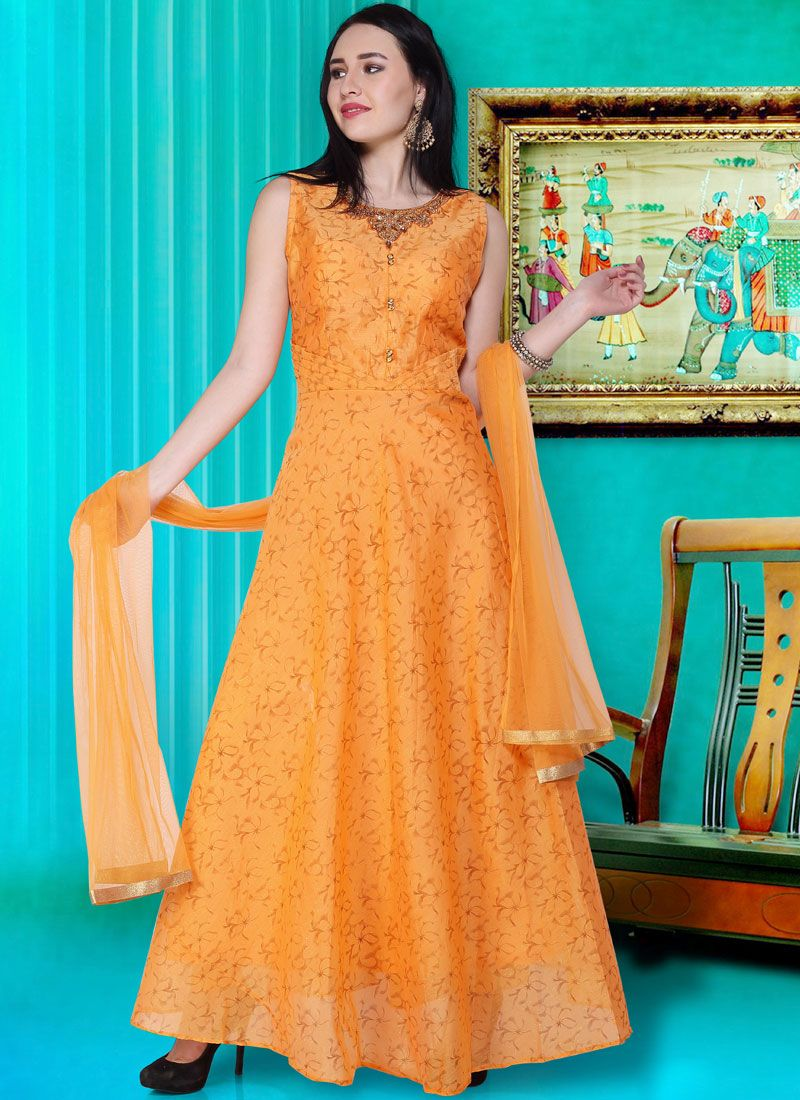 Silk Yellow Print Readymade Designer Gown