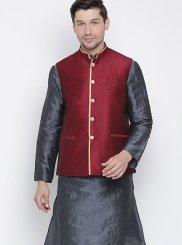 Silver Chanderi Cotton Sangeet Kurta Payjama With Jacket