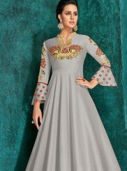 Silver Embroidered Designer Gown