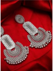 Silver Mehndi Ear Rings