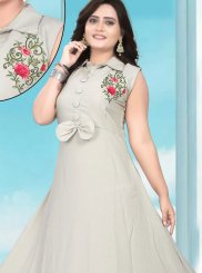 Silver Rayon Party Party Wear Kurti