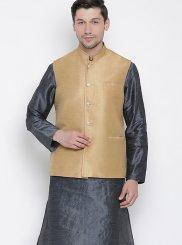 Silver Reception Cotton Kurta Payjama With Jacket