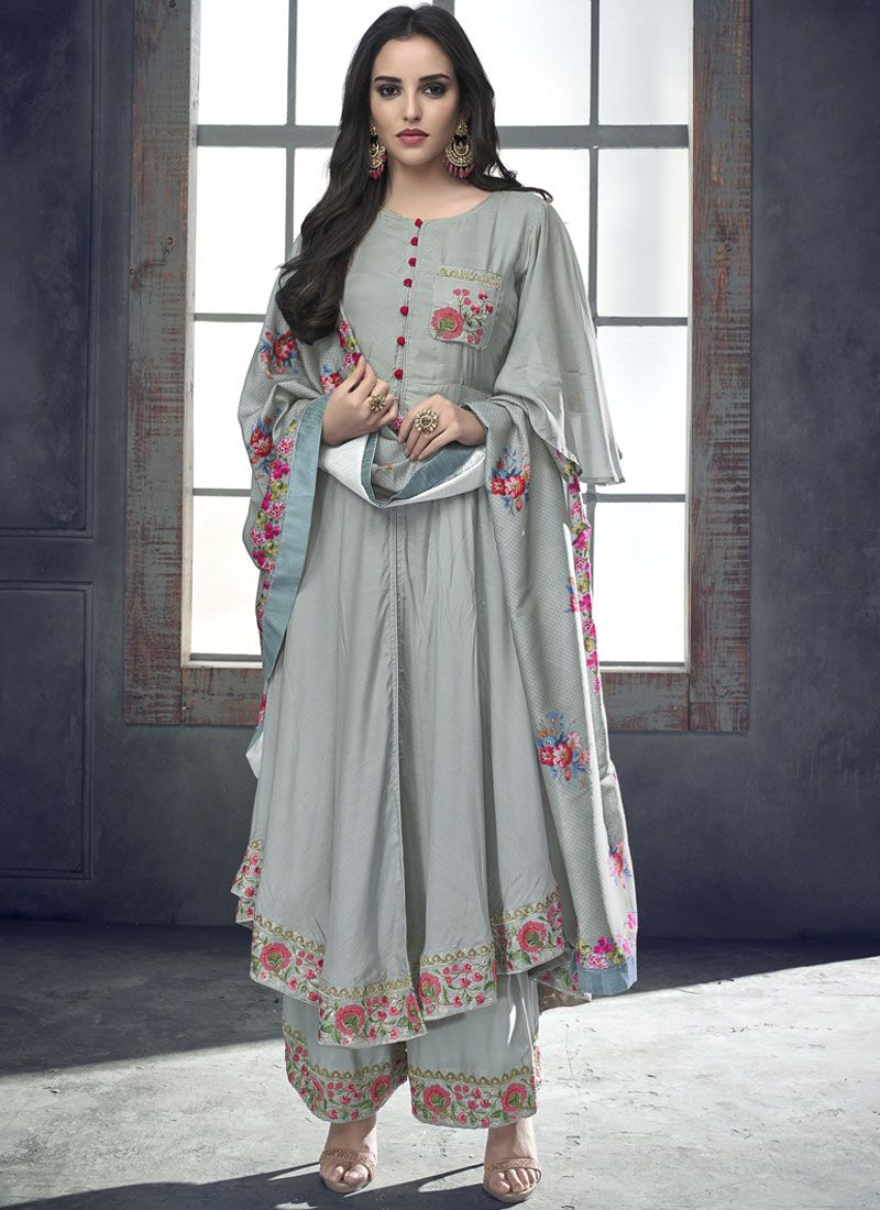 Silver Resham Rayon Readymade Suit