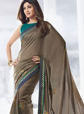 Silver Satin Mehndi Designer Traditional Saree