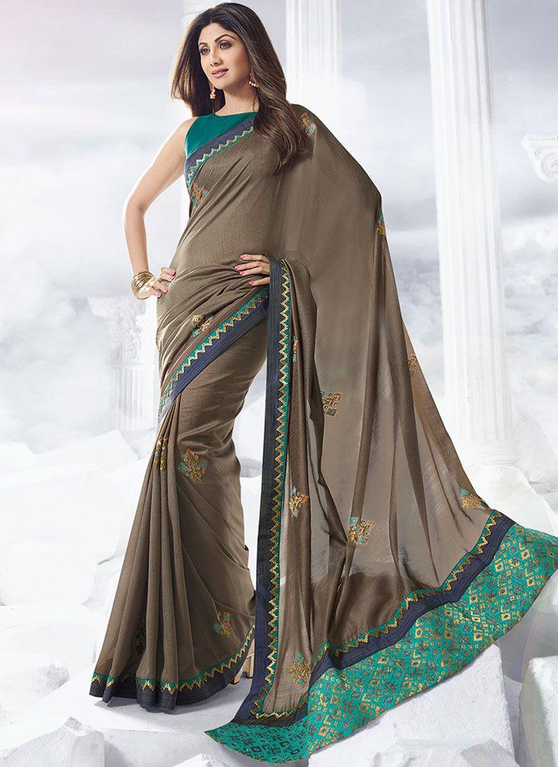 Silver Satin Mehndi Designer Traditional Saree