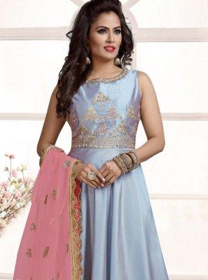 Silver Silk Anarkali Salwar Suit