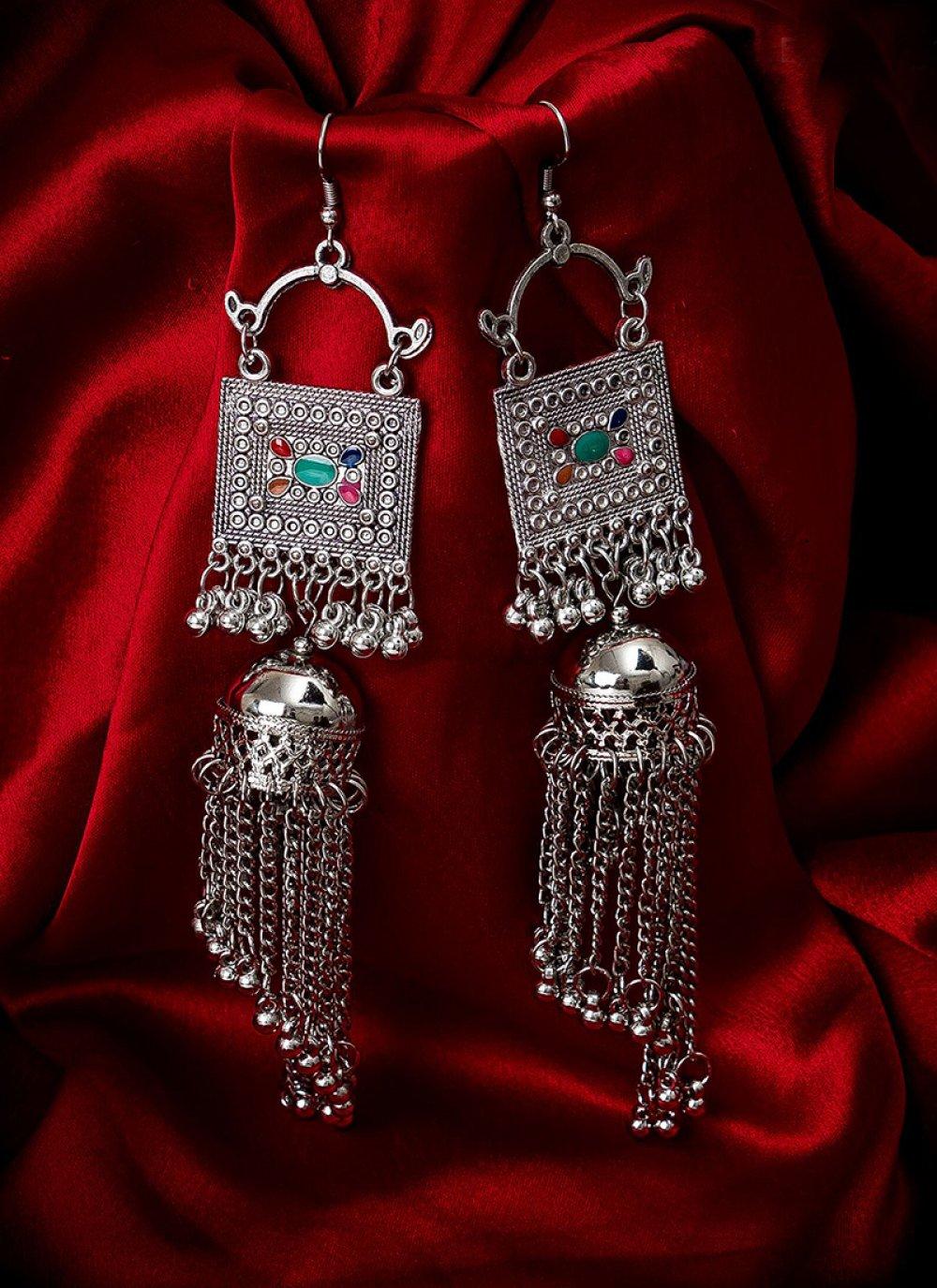 Silver Stone Work Ceremonial Ear Rings