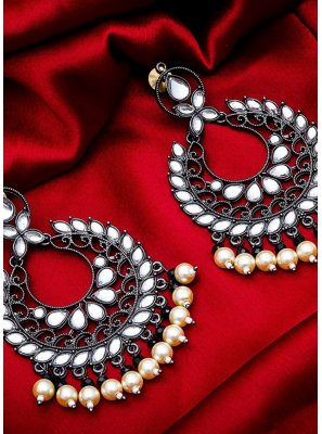 Silver Stone Work Ceremonial Ear Rings