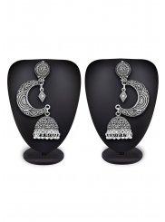 Silver Stone Work Mehndi Ear Rings