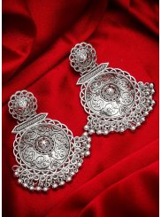 Silver Stone Work Reception Ear Rings
