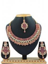 Silver Zardosi Pink Necklace Set