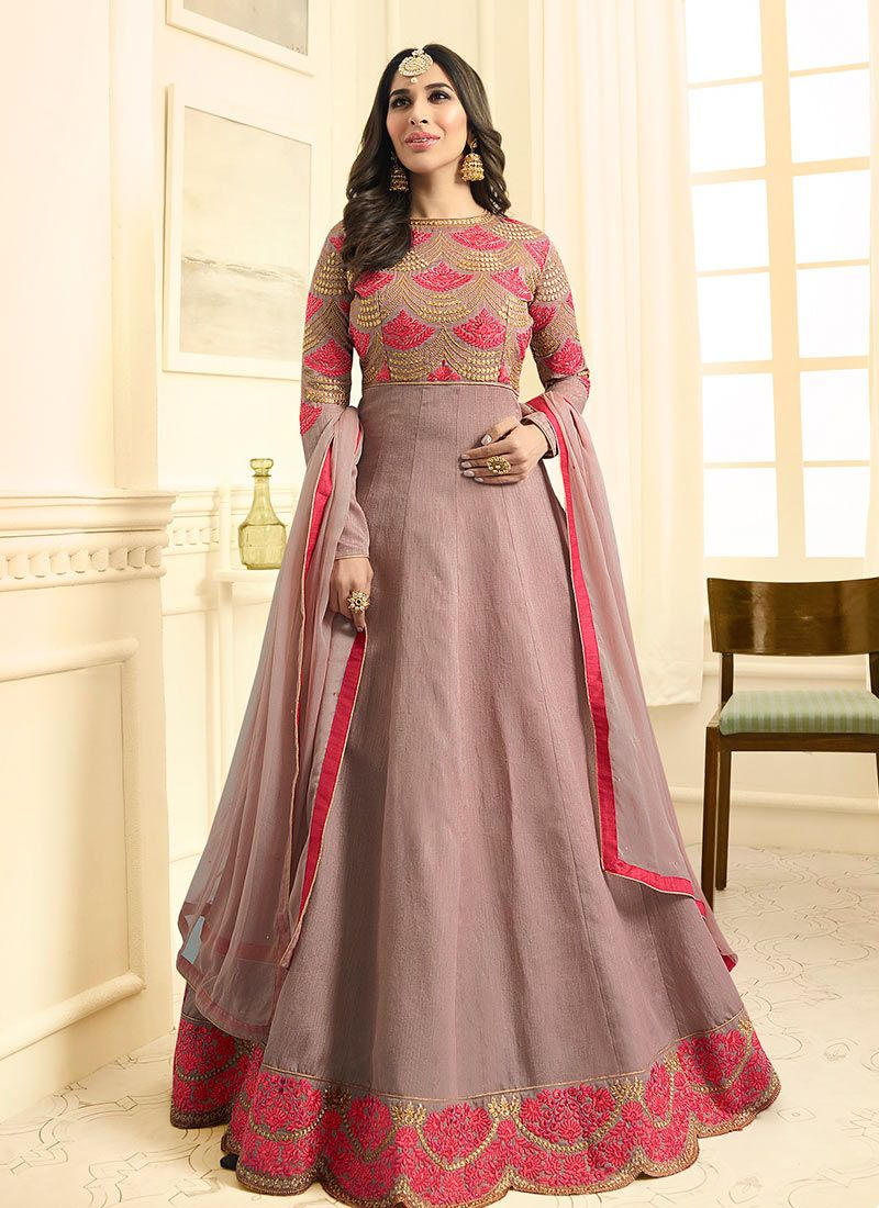 Sophie Chaudhary Mauve  Embroidered Work Floor Length Anarkali Suit