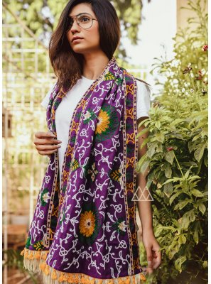Stole Embroidered Khadi in Purple