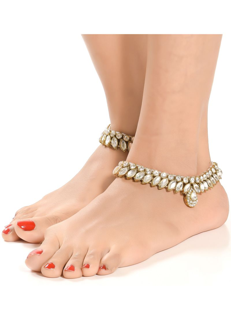 Stone Anklet in White