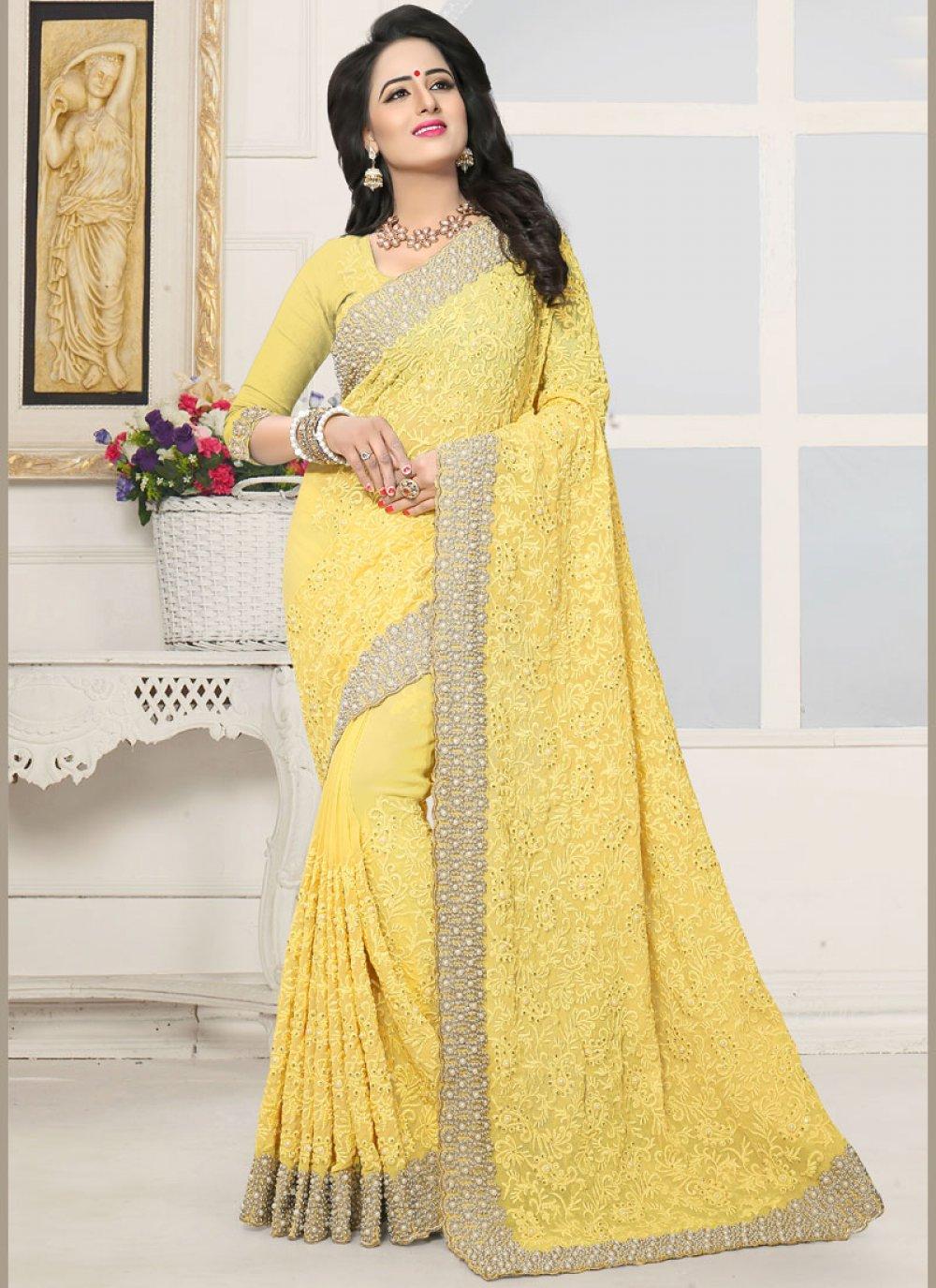 Stone Faux Georgette Designer Saree in Yellow