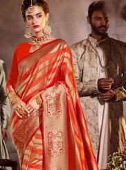 Stone Work Art Silk Classic Designer Saree in Orange