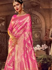 Stone Work Art Silk Pink Classic Designer Saree