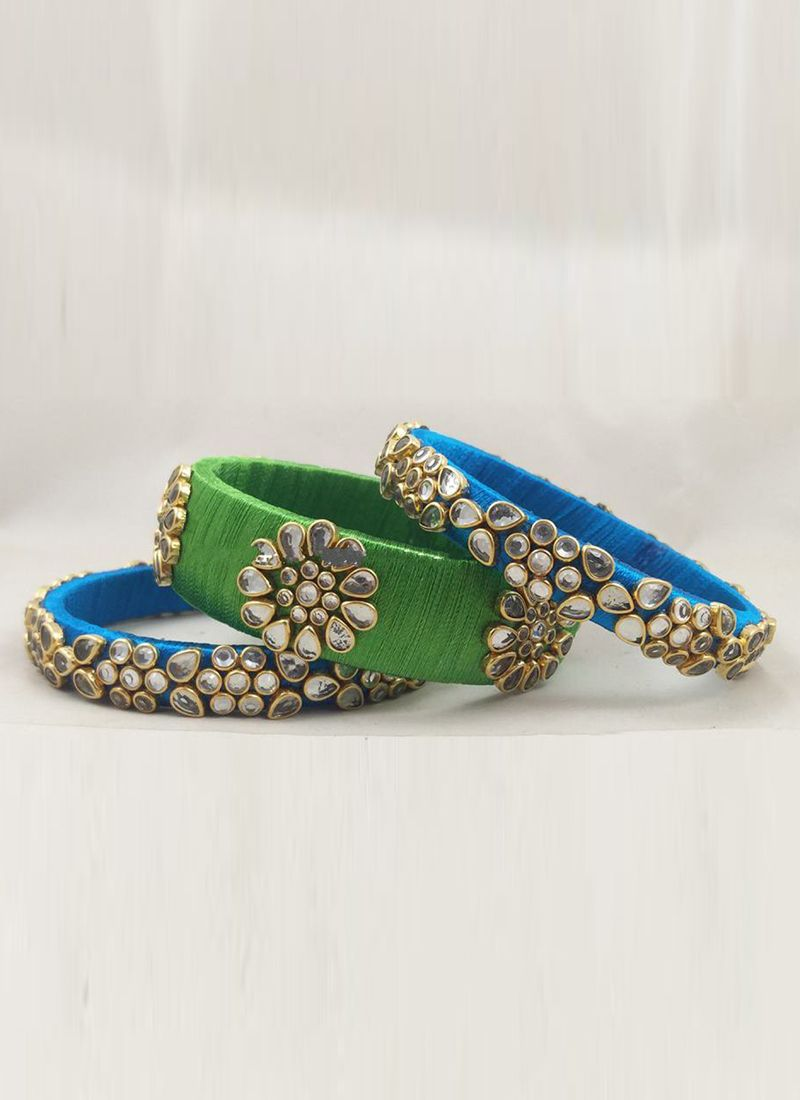Stone Work Bangles in Blue and Green