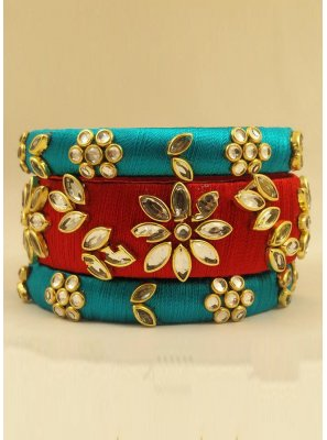 Stone Work Bangles in Blue and Red