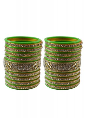 Stone Work Bangles in Green
