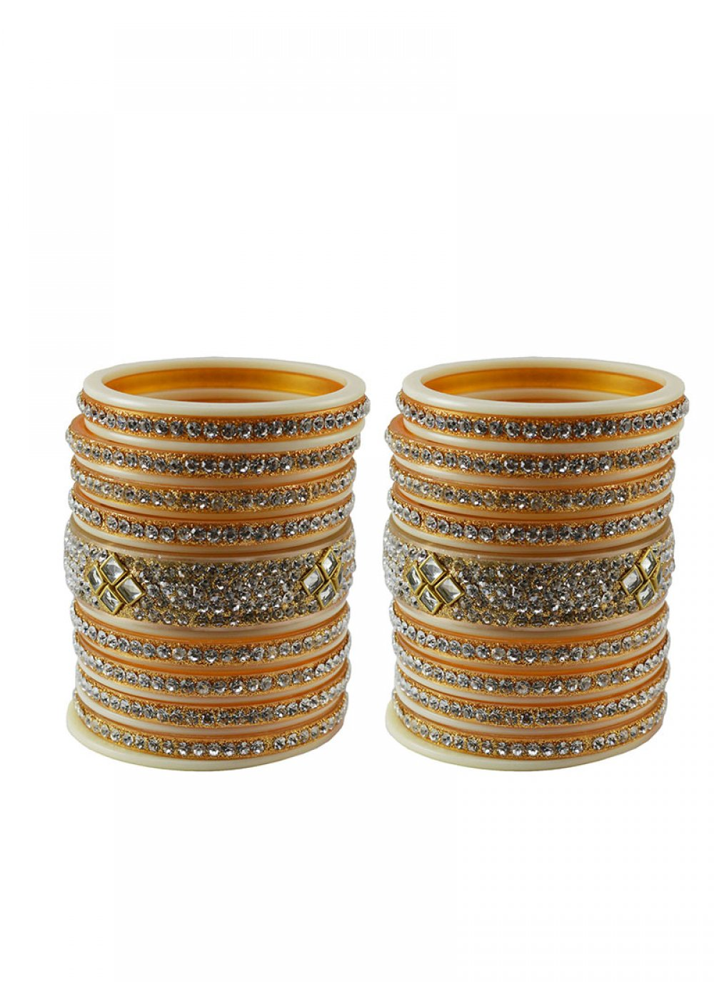 Stone Work Bangles in White