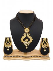 Stone Work Black and Gold Mangalsutra