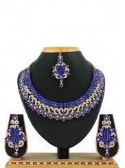 Stone Work Blue Necklace Set