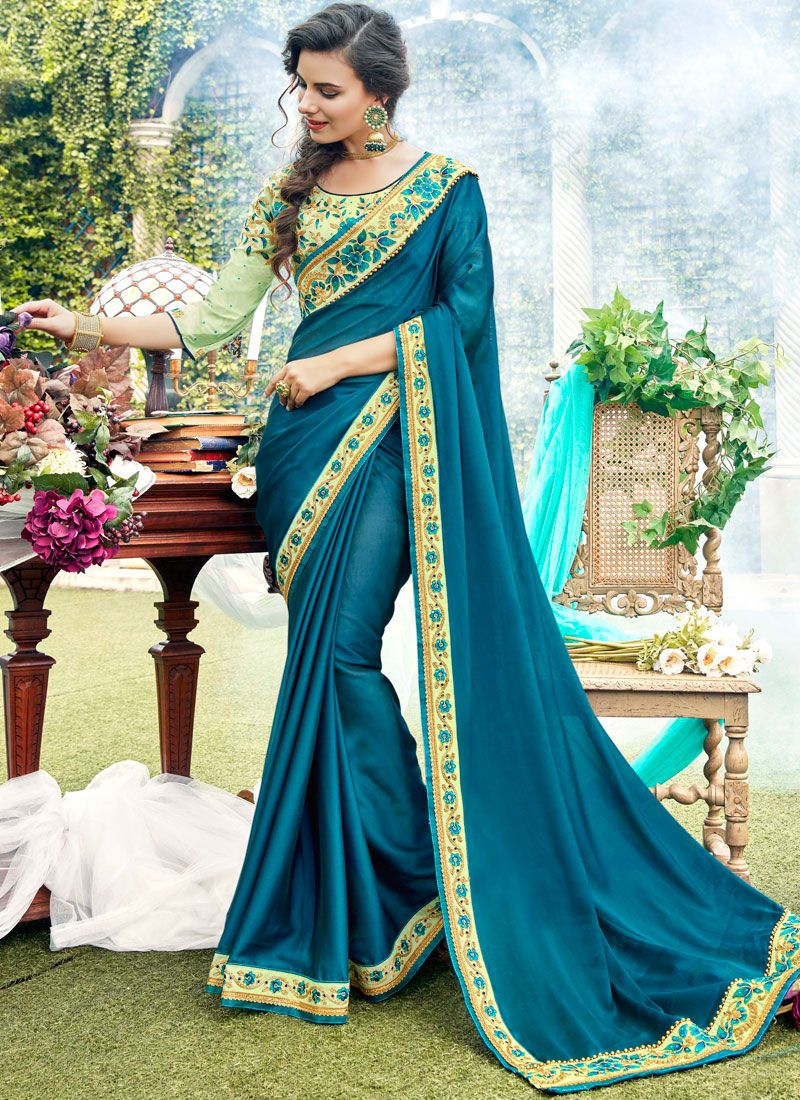 Stone Work Blue Rangoli Designer Saree
