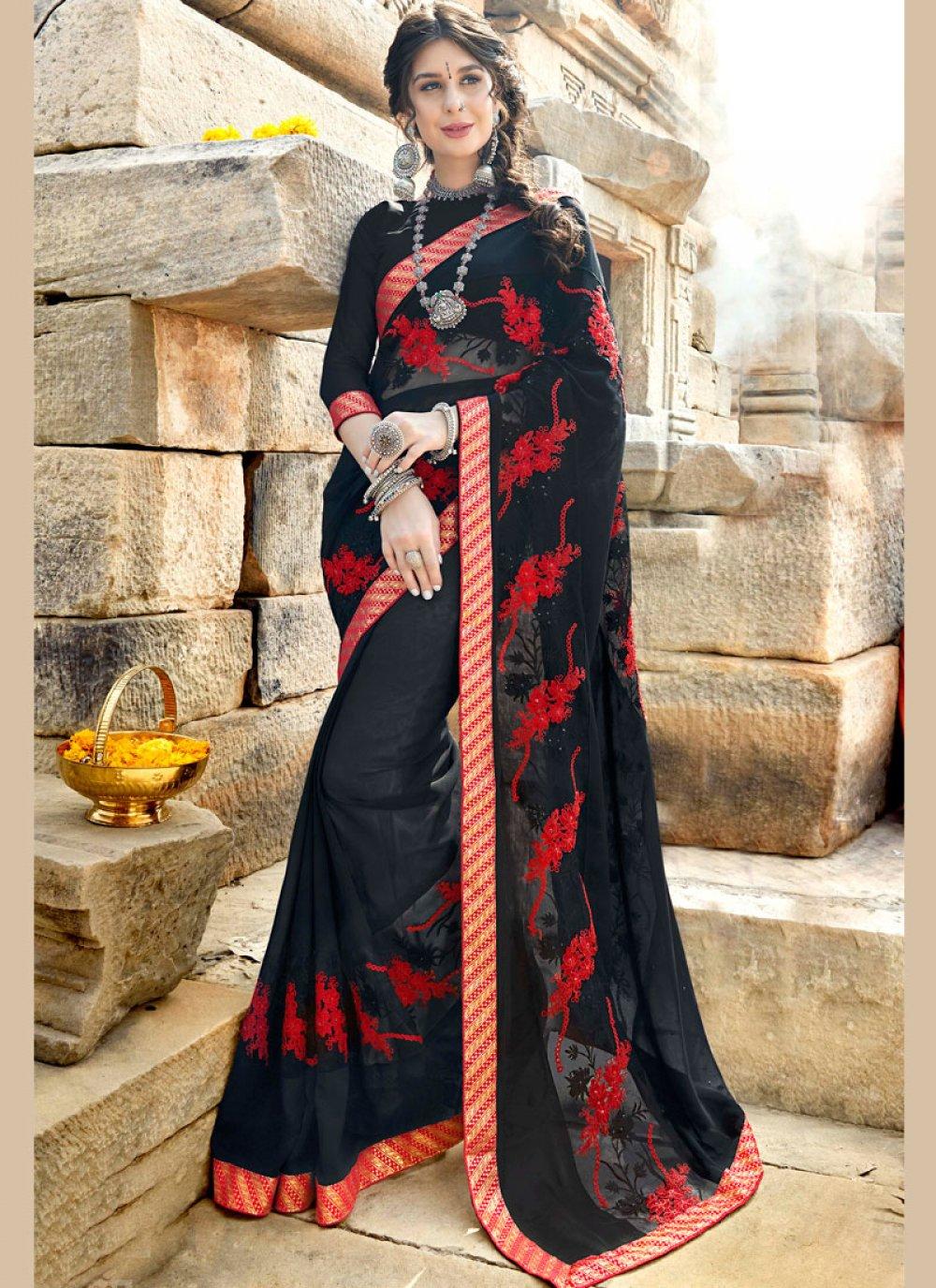 Stone Work Georgette Designer Saree in Black