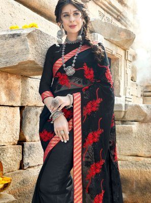 Stone Work Georgette Designer Saree in Black