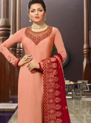 Stone Work Georgette Satin Churidar Salwar Kameez