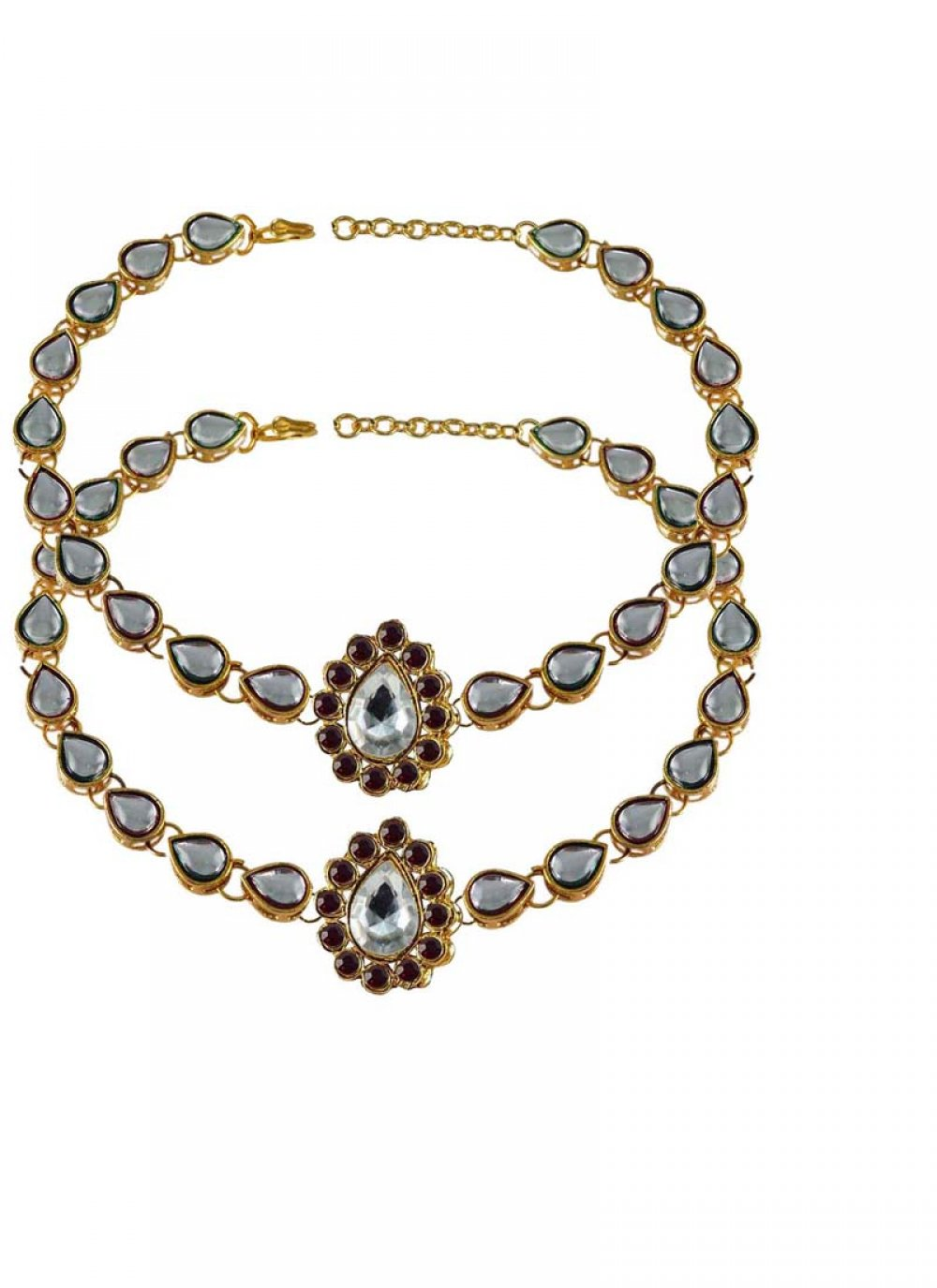 Stone Work Gold Anklet