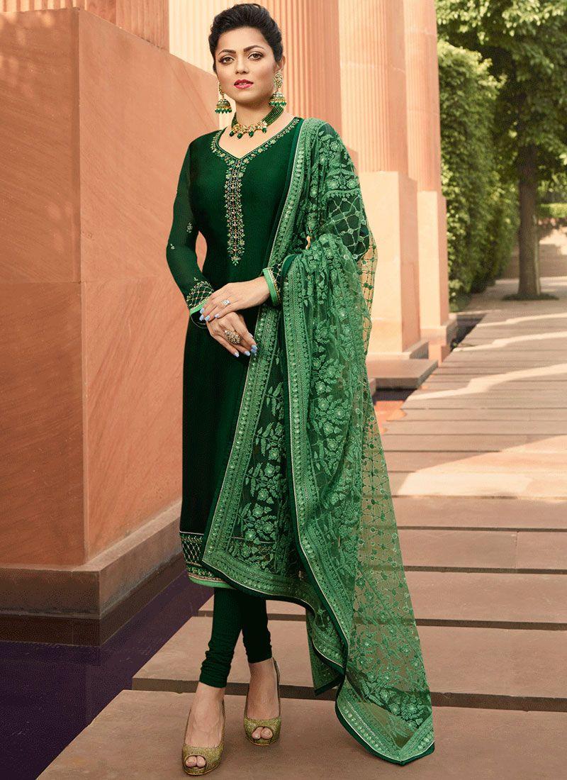 Stone Work Green Georgette Satin Churidar Salwar Suit