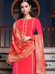 Stone Work Hot Pink Silk Designer Palazzo Salwar Suit