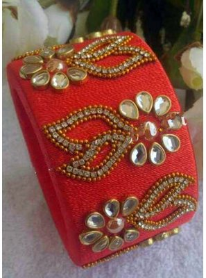 Stone Work Kada Bangles in Orange